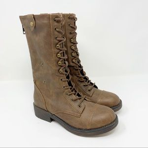 🆕 Madden Girl Motor Lace-Up Boots Back Zip Brown